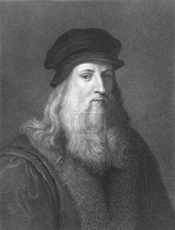 Leonardo Da Vinci (1452-1519) on engraving from th...