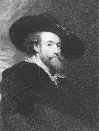 Photo pour Peter paul rubens (1577-1640) gravure datant du XIXe siècle. peintre baroque flamand. gravé par j. pofselwhite et publié à Londres par chevalier charles, pall m - image libre de droit