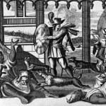 The dogs of Vasco Nunez de Balboa (1475-1519)attac...