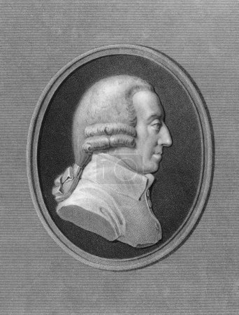 Photo for Adam Smith (1723-1790) on engraving from the 1800s. Scottish moral philosopher and pioneer of political economy. Engraved by W. Holl and published in London by - Royalty Free Image