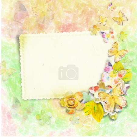 Summer card for photo or text with butterflies and flowers