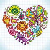 Flora and fauna theme heart