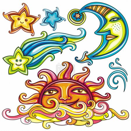 Illustration for Vector set of Celestial symbols: sun, moon, star, comet, with human faces, and cute wind swirl - Royalty Free Image