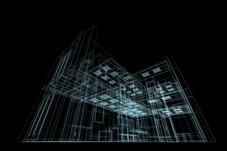 Photo for Blueprint on black. Conceptual architecture blueprint - Royalty Free Image