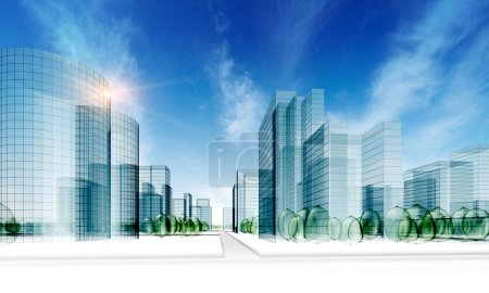 Photo for Glass city. Abstract 3d render - Royalty Free Image