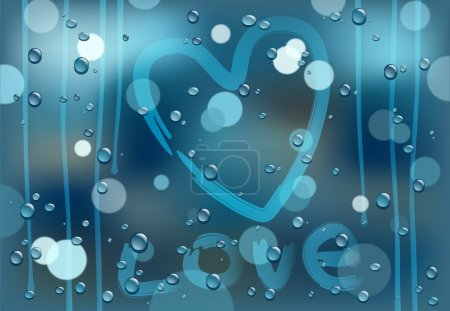Illustration for Raindrops on window after rain - Royalty Free Image