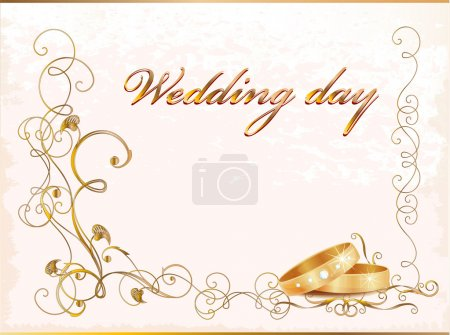 Photo for Vintage wedding card with rings. - Royalty Free Image