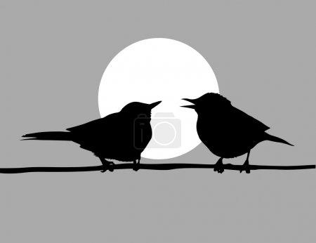 Illustration pour Dessin vectoriel deux oiseaux sur fond solaire - image libre de droit