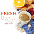 Delicious breakfast with fresh coffee, fresh crois...