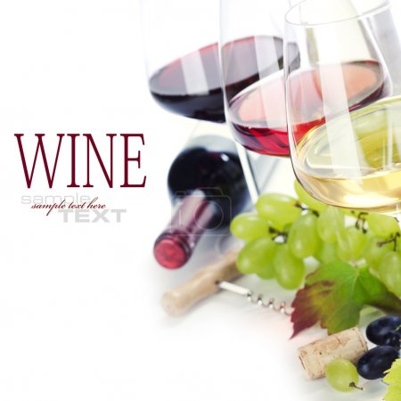 Photo for Glasses of white, red and rose wine and grapes over white (with sample text) - Royalty Free Image