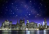 Starry Night over New York City Skyscrapers
