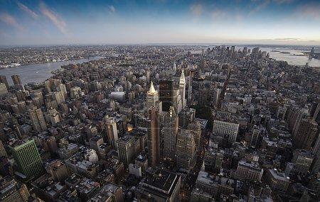 Sunset over New York City Skyscrapers