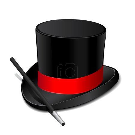 Illustration pour Chapeau magique noir avec baguette magique. Illustration vectorielle - image libre de droit