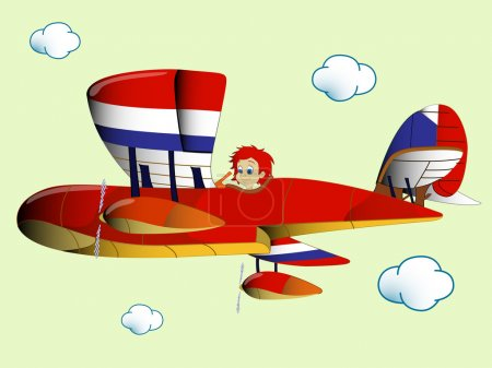 Kid flying airplain