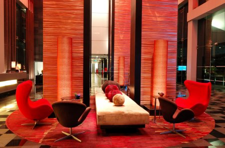 Photo for Modern lobby interior in night illumination, Pattaya, Thailand - Royalty Free Image