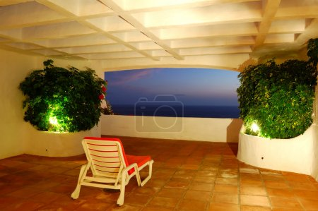 The sea view from a terrace of luxury hotel, beach and Atlantic