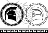 Hellenic helmets and olive branch