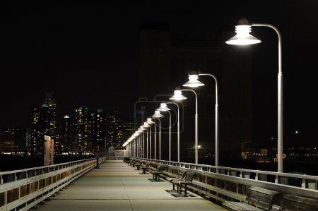Photo for Night bridge with lanterns and bench in Night New York - Royalty Free Image