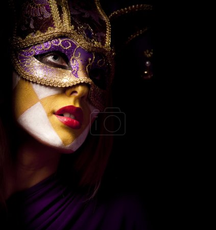 Photo for Closeup portrait of sexy woman in violet party mask for desire concept - Royalty Free Image
