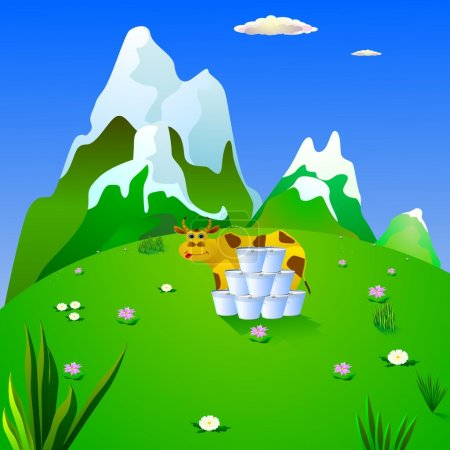 Illustration for Cow and milk on a mountain meadow. vector - Royalty Free Image