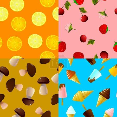 Illustration pour Collection de textures alimentaires sans couture - image libre de droit
