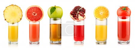 Photo for Set of tropical fruit juices in glasses isolated on white background - Royalty Free Image