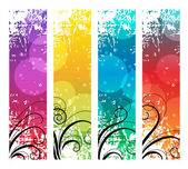 Four abstract vertical banners