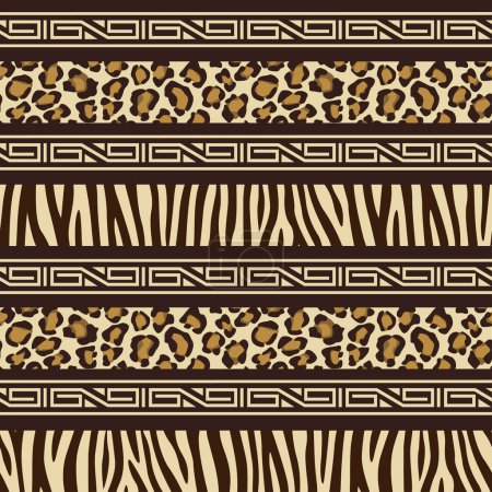 Illustration for African style seamless pattern with wild animals skins - Royalty Free Image