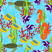 Sea life seamless pattern