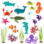 Set of sea animals