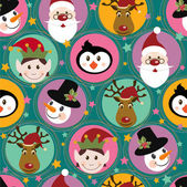 Christmas pattern with Santa deerpenguinelf and snowman