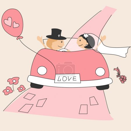 Illustration for Wedding invitation with funny bride and groom on car driving to their honeymoon - Royalty Free Image