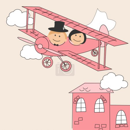 Illustration for Wedding invitation with dancing funny bride and groom on airplane - Royalty Free Image
