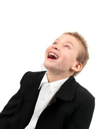 Photo pour Riant garçon isolé sur le blanc - image libre de droit