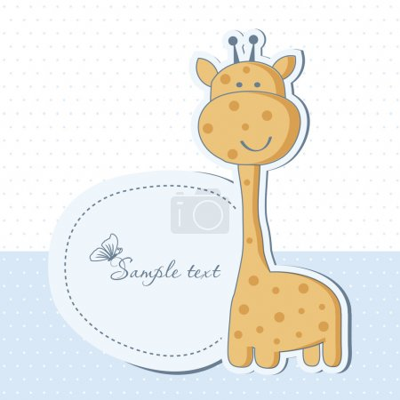 Photo pour Baby boy shower card with cute giraffe - image libre de droit