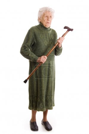 The elderly woman isolated on white background...
