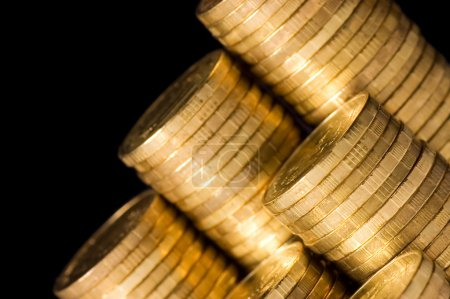The golden coins close up