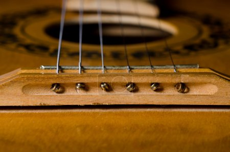 Photo for Close-up old acoustic guitar as a background - Royalty Free Image