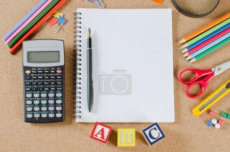 Various school accessories on