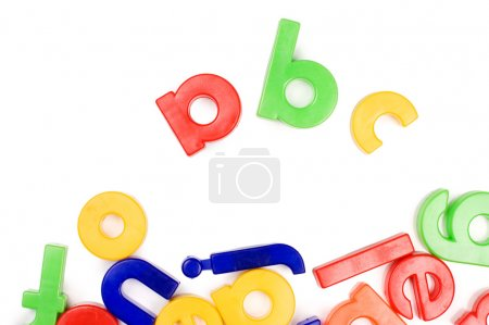 Plastic English letters isolated on white backgrou...
