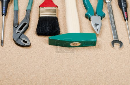 Photo for The set building tools on a corkboard - Royalty Free Image