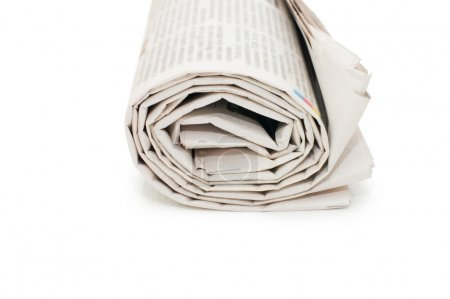 Roll of newspapers, isolated on white