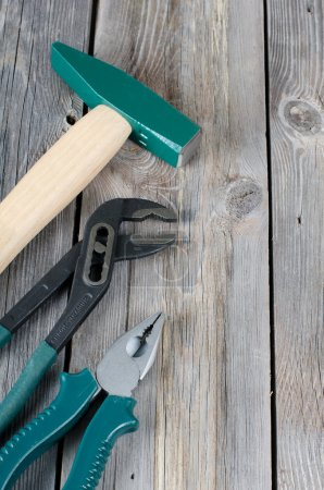 Photo for The set building tools on old boards - Royalty Free Image