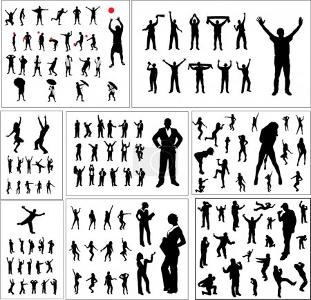 Set of silhouettes of sports fans