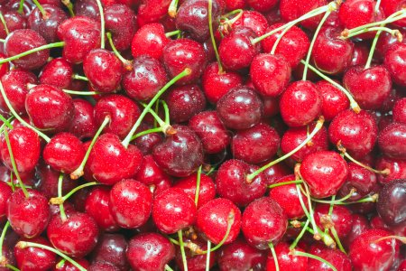 Photo for Healthy natural food, background. Ripe cherry. - Royalty Free Image