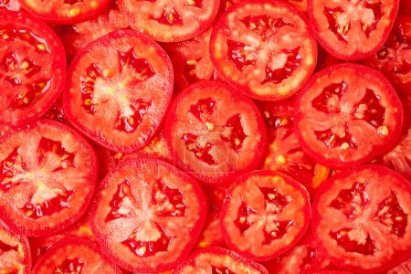 Photo for Healthy natural food, background. Tomatoes slices. More background of fruits and vegetables in my portfolio. - Royalty Free Image