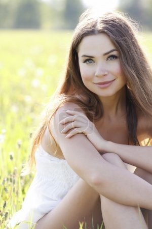 Photo for Portrait of a beautiful caucasian woman outdoor - Royalty Free Image