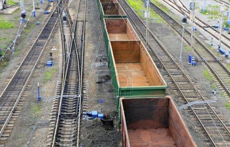 Freight train on a city cargo terminal...