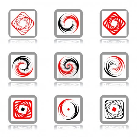 Illustration pour Eléments de conception avec mouvement en spirale. Ensemble vectoriel . - image libre de droit