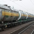 Freight train with oil transporting wagons...